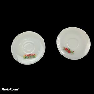 Set of Two VTG FIRE KING Milk Glass Saucers Tulips